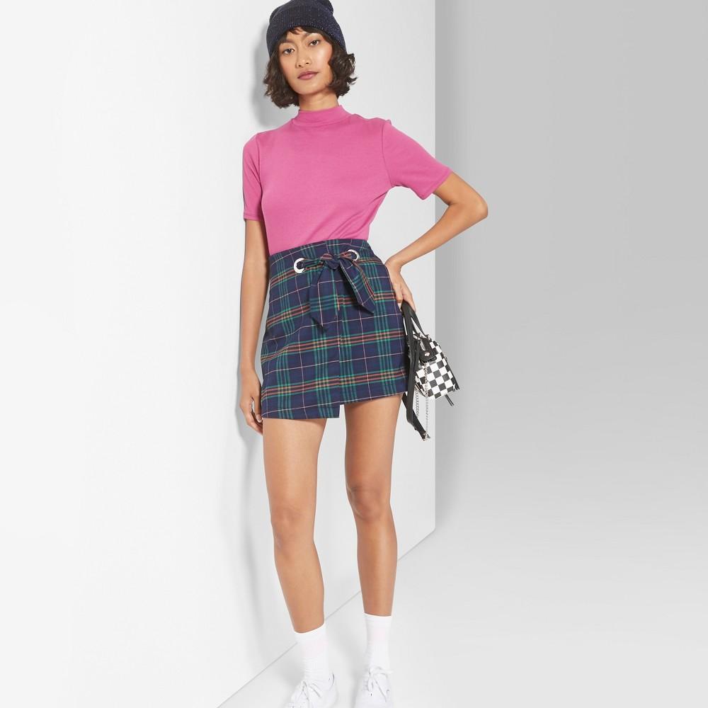 Women's Plaid Skirt - Wild Fable Navy M, Blue