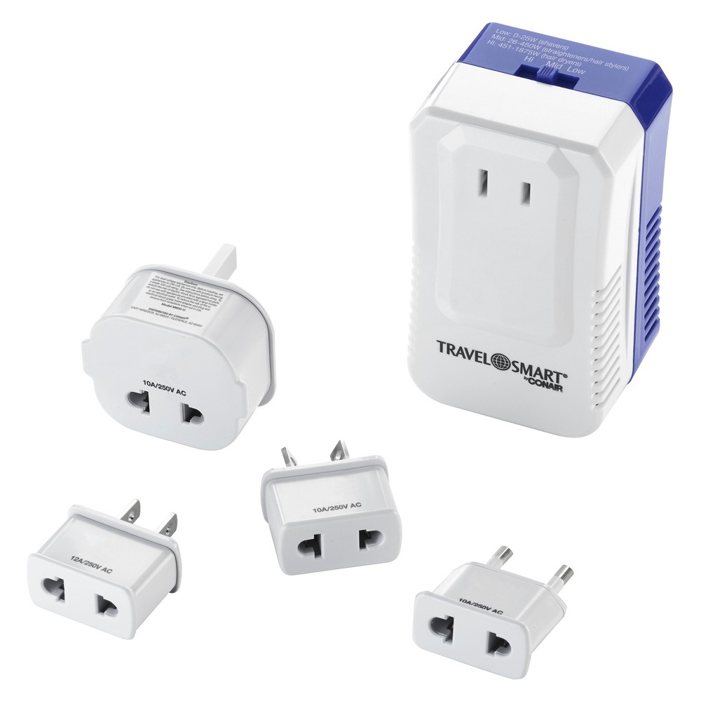 The ONLY converter that works with your high-end electronic styling tools and hair dryers as well as basic styling appliances. This universal travel accessory enables you to use electric devices in over 150 countries. Convert-it-all power travel converter and adapter set is designed to use single voltage high-end electronic styling tools with three settings: Low: 0-25W (shavers) / Mid: 26-450 W (straighteners/hair stylers) / High: 451-1875W (hair dryers). This 1875-watt travel voltage converter is designed to help you operate your high-end single voltage appliances such as hair dryers, curling irons, flat irons and electric shavers. Just plug in one styling tool using the polarized outlet adapter kit and the electric converter unit. Your devices and appliances are safeguarded against electrical spikes. About Travel Smart: Travel Smart continues to serve the world?s growing number of travelers with all the basic comforts and connectors they need for international travel. New high-tech devices require new high-tech converters and adapters and Travel Smart is keeping up with the demand. Travelers can count on Travel Smart for all the essential gadgets and gear they need for ever-evolving laptops and mobile devices; they can also count on Travel Smart products to make their journey comfortable!