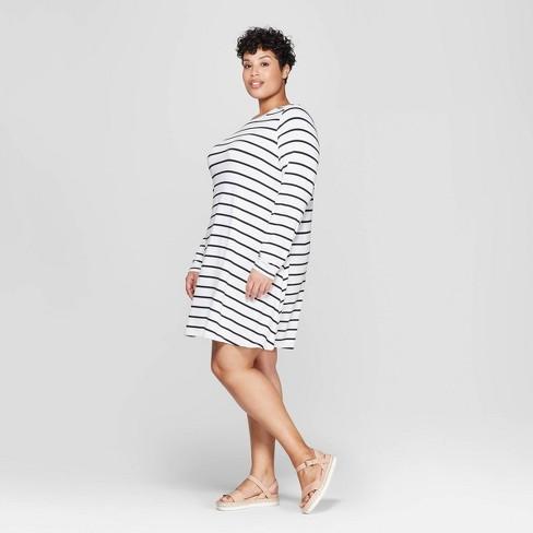 Women\'s Plus Size Striped Long Sleeve Scoop Neck Knit Swing Dress - Ava &  Viv™ Black/White
