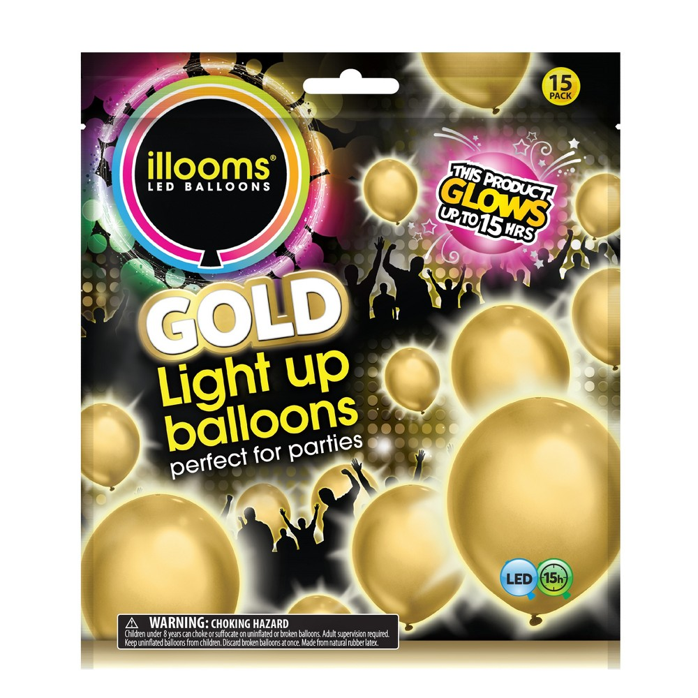 Image of 15ct Gold LED Light Up Balloons - illooms, Kids Unisex
