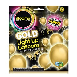 15ct Gold LED Light Up Balloons - illooms
