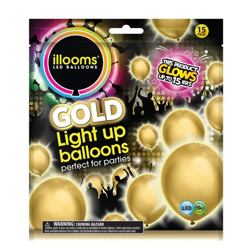 15ct Gold LED Light Up Balloons - illooms - image 1 of 4