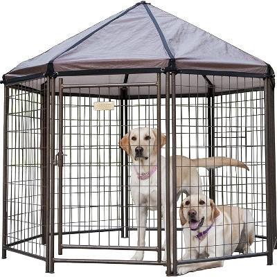 Advantek 5 Foot Portable Indoor Outdoor Metal Pet and Dog Gazebo with Waterproof Reversible Cover