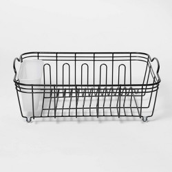 "14.1"" x 6.4"" x 17.9"" Steel Dish Drainer Black - Threshold™"