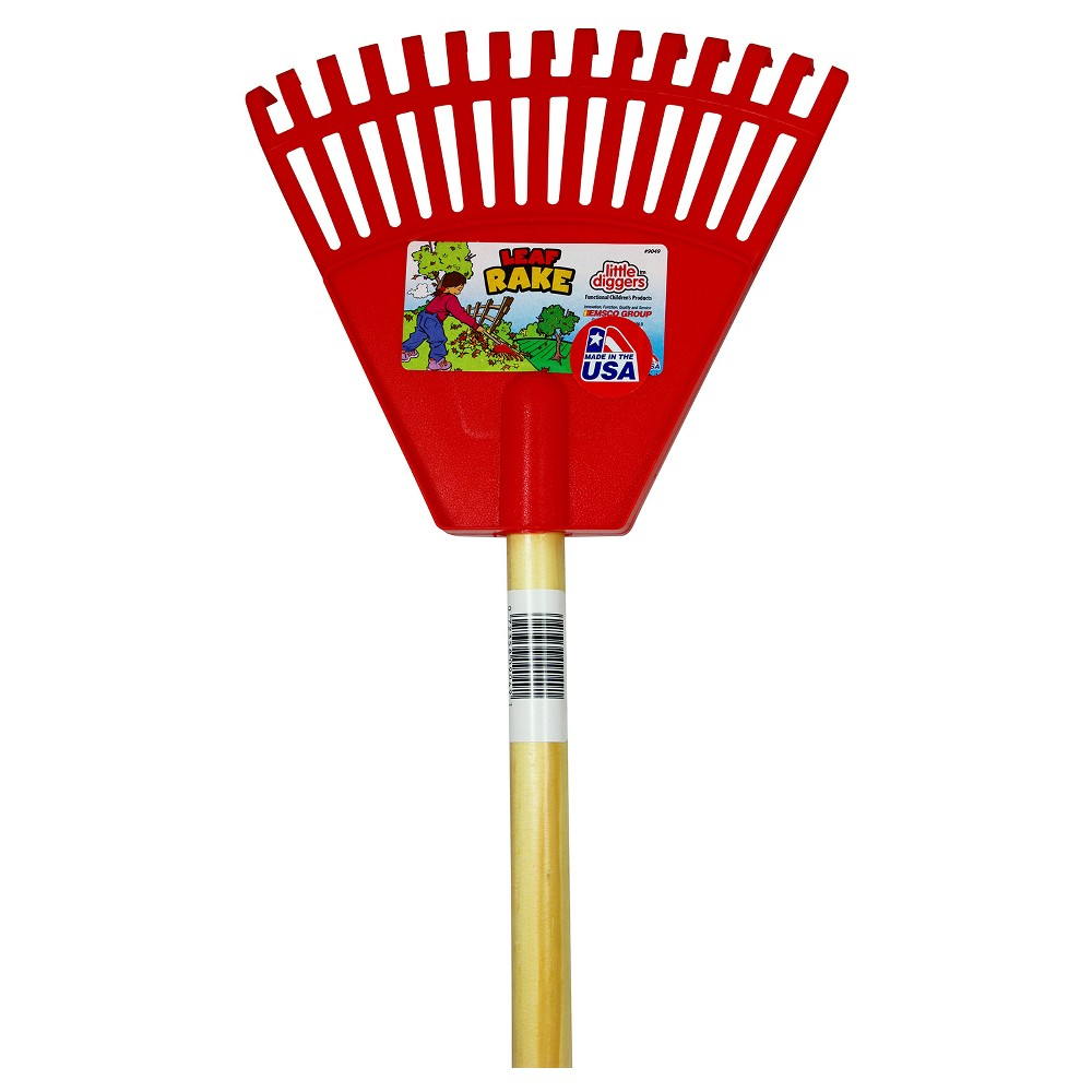 Image of Children's Garden Leaf Rake with Plastic Heads / Hardwood Handle - Red - Little Diggers