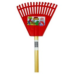 Children's Garden Leaf Rake with Plastic Heads / Hardwood Handle - Red - Little Diggers