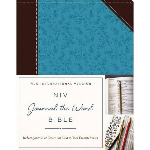 NIV, Journal the Word Bible, Imitation Leather, Brown/Blue - by  Zondervan (Leather_bound) - image 1 of 1
