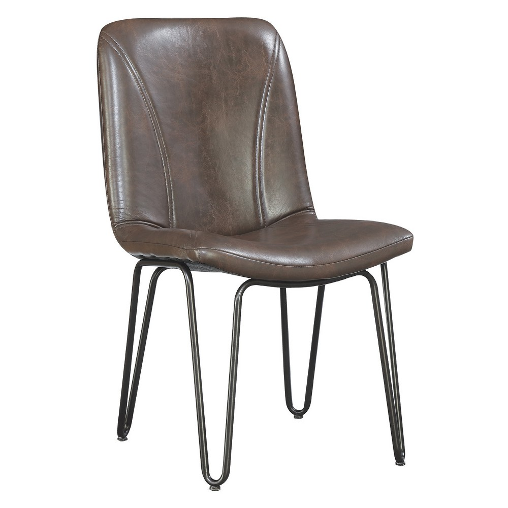Private Reserves Set of 4 Dining Side Chair Brown Leatherette with Gunmetal Leg Finish