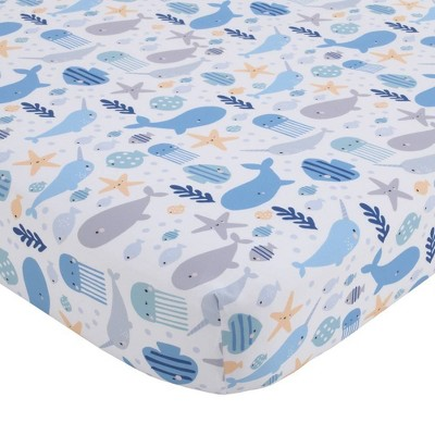 Little Love By NoJo Underwater Adventure Narwhals and Whales Fitted Crib Sheet - Navy Gray and Blue