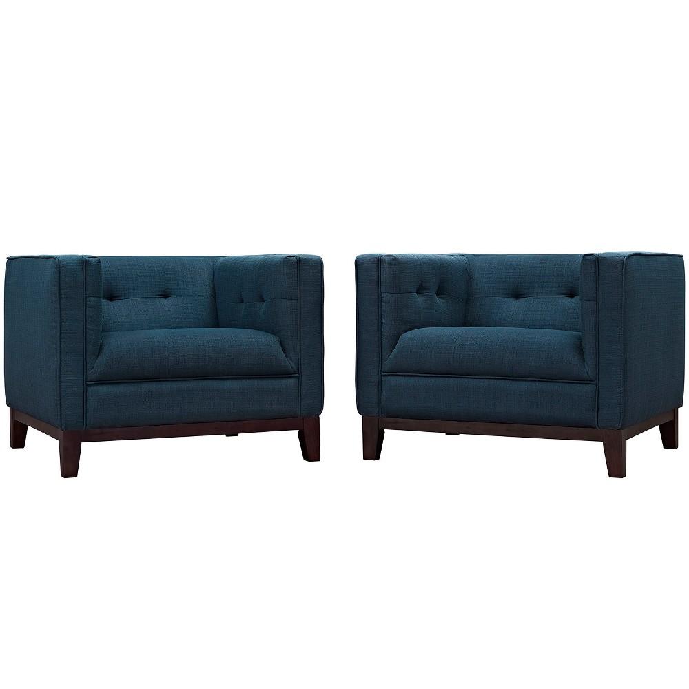 Serve Armchairs Set of 2 Azure (Blue) - Modway