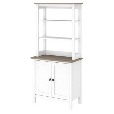 "65.94"" 5 Shelf Mayfield Bookshelf with Doors Shiplap Gray/Pure White - Bush Furniture"