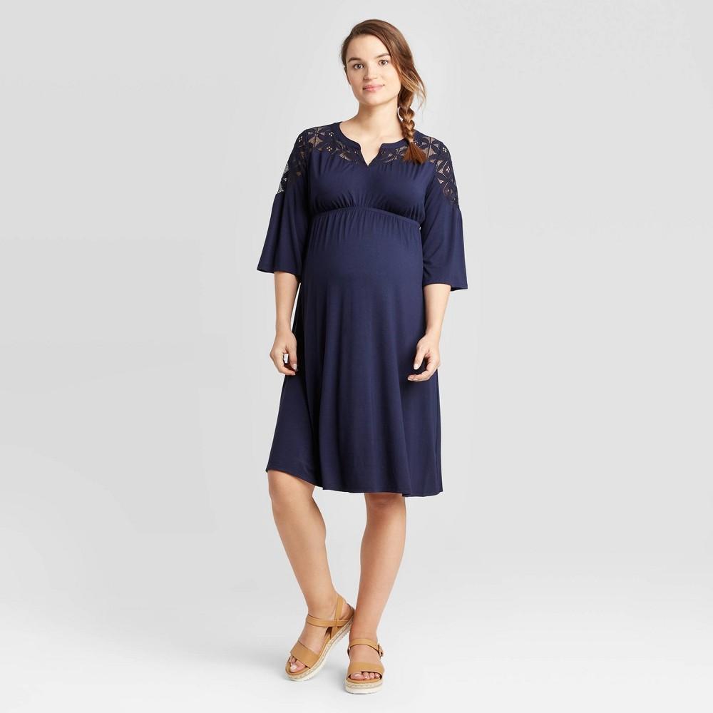 Image of Maternity 3/4 Sleeve Lace Yoke Knit Dress - Isabel Maternity by Ingrid & Isabel Navy L, Women's, Size: Large, Blue