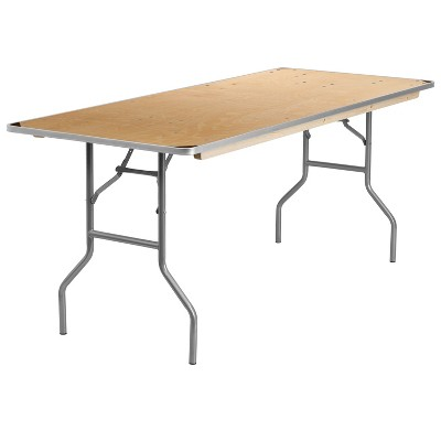Flash Furniture 6-Foot Rectangular HEAVY DUTY Birchwood Folding Banquet Table with METAL Edges and Protective Corner Guards