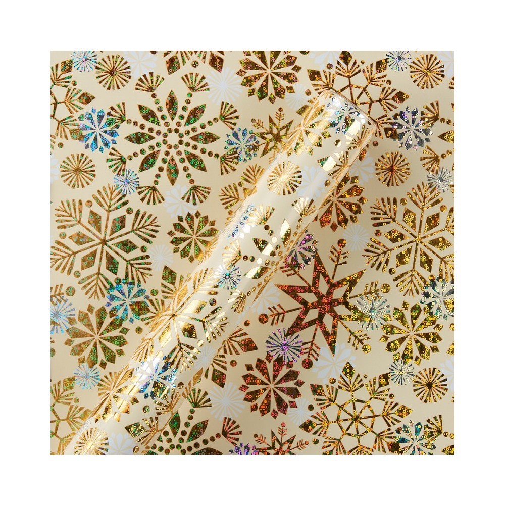Papyrus Holographic Silver Snowflakes Wrapping Paper, Multi-Colored