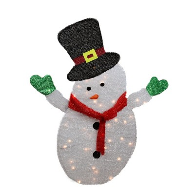 Northlight 4' Lighted Winter Snowman with Top Hat Outdoor Christmas Decoration - Clear Lights
