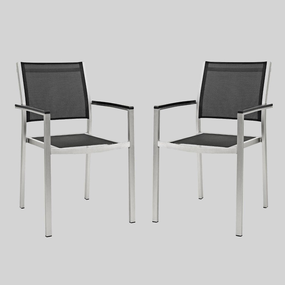 Shore 2ct Outdoor Patio Aluminum Dining Chair - Black - Modway