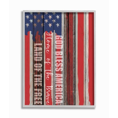 Stupell Industries God Bless America Wood Grain Flag Red White Blue Americana Gray Farmhouse Rustic Framed Giclee Texturized Art by Kim Allen