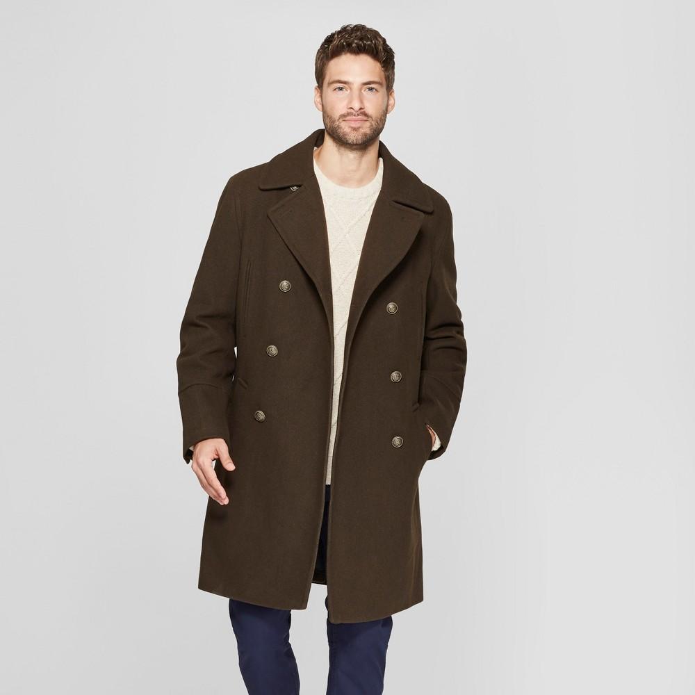 Men's Wool Blend Trench Coat - Goodfellow & Co Dark Green 2XL