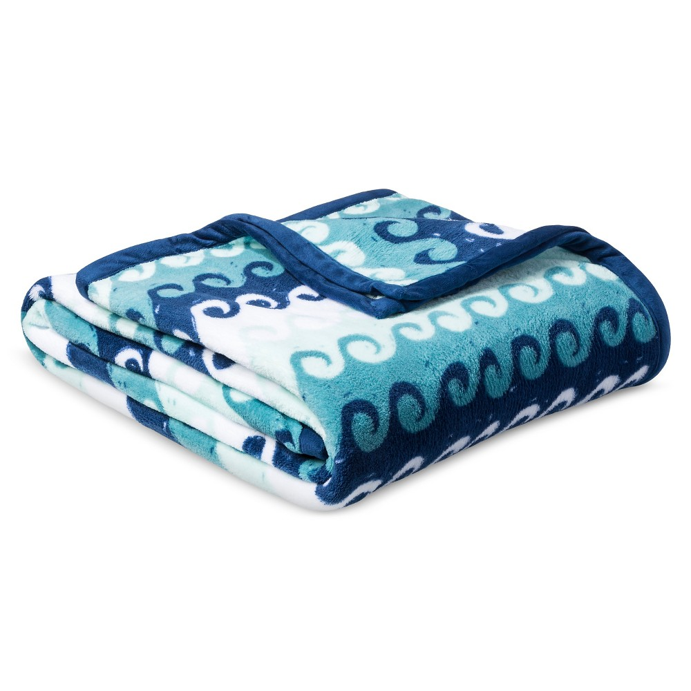 Waves Plush Bed Blanket (Full/Queen) Blue - Pillowfort