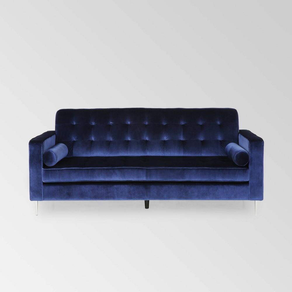 Image of Poynes Modern Glam Tufted Velvet Sofa Navy - Christopher Knight Home