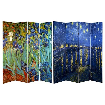 Van Gogh Fine Art Double Sided Room Divider Starry Night and Irises - Oriental Furniture