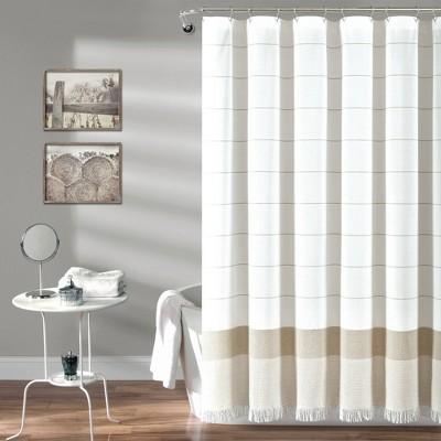 Striped Yarn Dyed Tassel Fringe Shower Curtain - Lush Décor