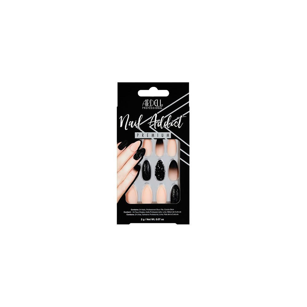 Image of Ardell Nail Addict False Nails Black Stud & Pink Ombre - 24ct