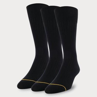 Signature Gold by GOLDTOE Men's Cotton Crew Dress Rib Socks 3pk - Black 6-12.5