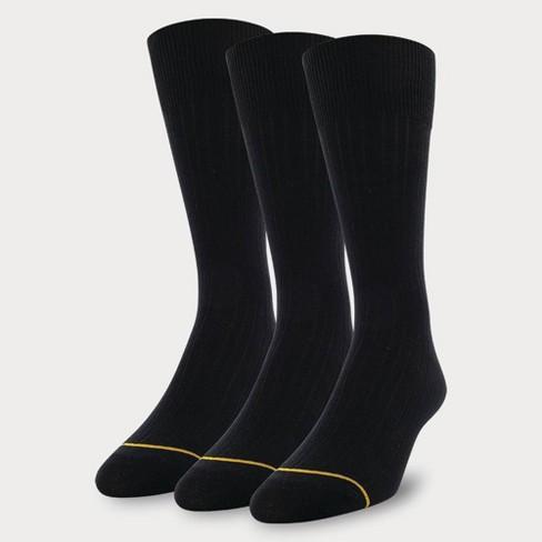 Signature Gold by GOLDTOE Men's Cotton Crew Dress Rib Socks 3pk - Black 6-12.5 - image 1 of 2