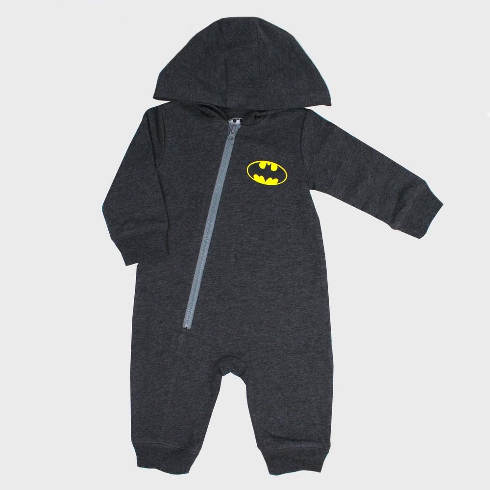 Image of Baby DC Comics Batman Hooded Romper - Gray 6-9M, Kids Unisex