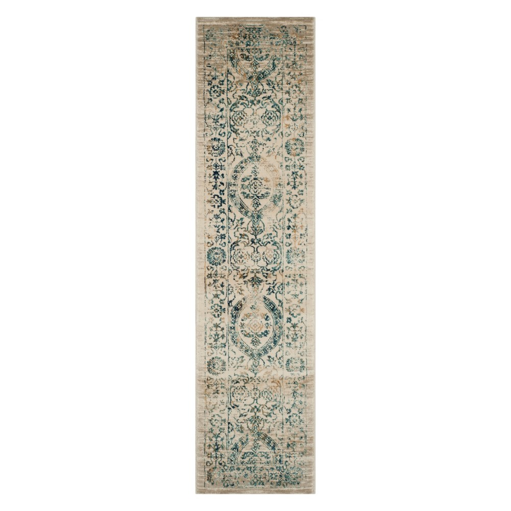 2'X12' Floral Runner Beige/Turquoise - Safavieh