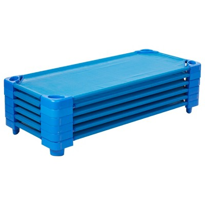 ECR4Kids Children's Naptime Cot, Stackable Heavy-Duty Cot Bed, Ready-to-Assemble, 6-Pack - Blue