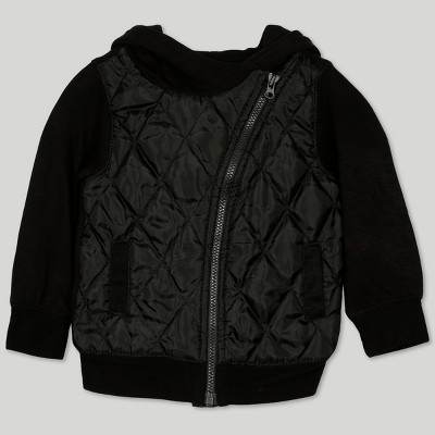 Afton Street Baby Boys' Quilted Hooded Jacket - Black Newborn