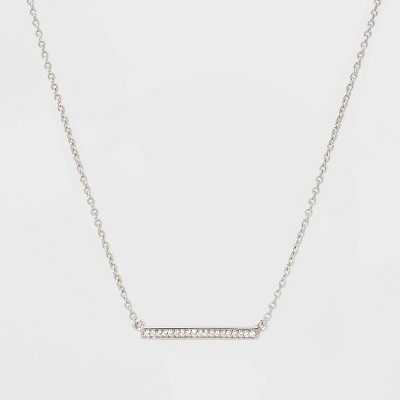 Sterling Silver Bezel Cubic Zirconia Bar Chain Necklace - A New Day™ Silver/Clear