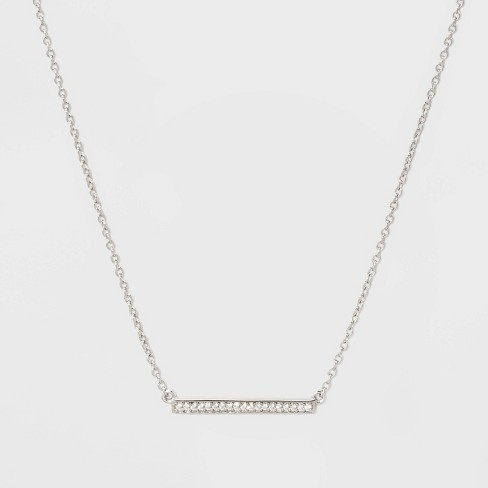 Sterling Silver Bezel Cubic Zirconia Bar Necklace - A New Day™ Silver/Clear - image 1 of 2