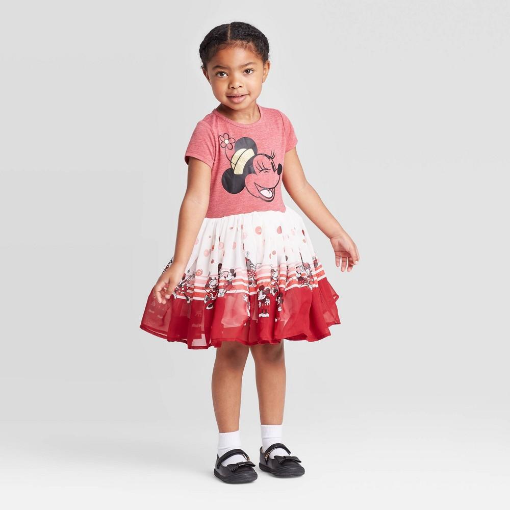 Image of petiteToddler Girls' Disney Minnie Mouse Short Sleeve Dress - Red/White 2T, Girl's