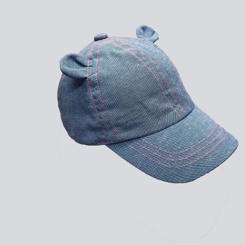 Baby Girls' Denim Baseball Hat with Ears - Cat & Jack™ Blue 12-24M - image 1 of 2