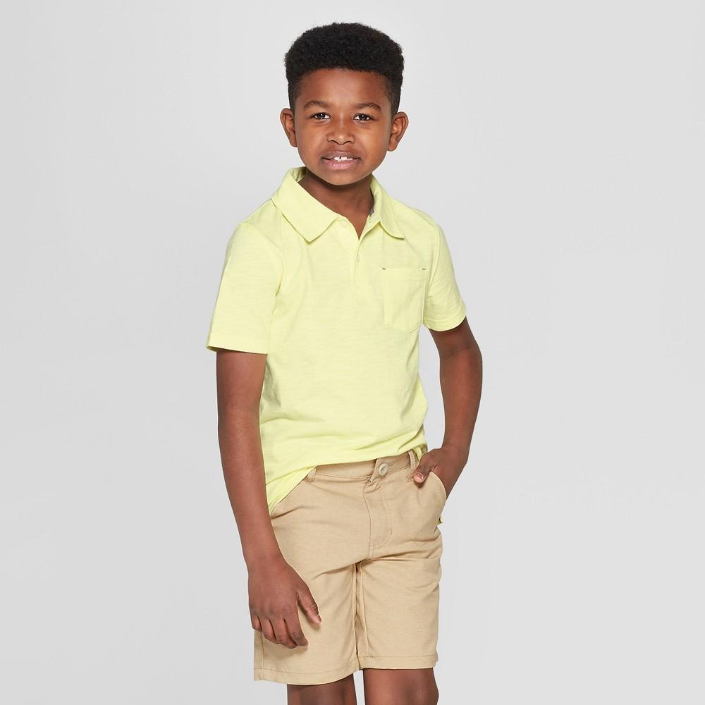 Boys' Short Sleeve Slub Knit Polo Shirt - Cat & Jack Yellow L
