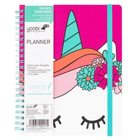 "Undated Planner 7.75""x 6"" Unicorn Pink - Yoobi™ - image 1 of 6"