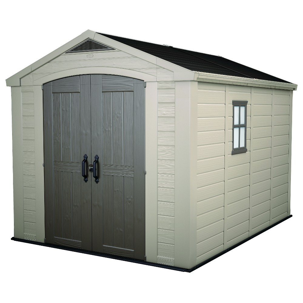 Image of Factor Large Resin Outdoor Storage Shed 8X11 - Taupe/Beige - Keter, Beige/Brown
