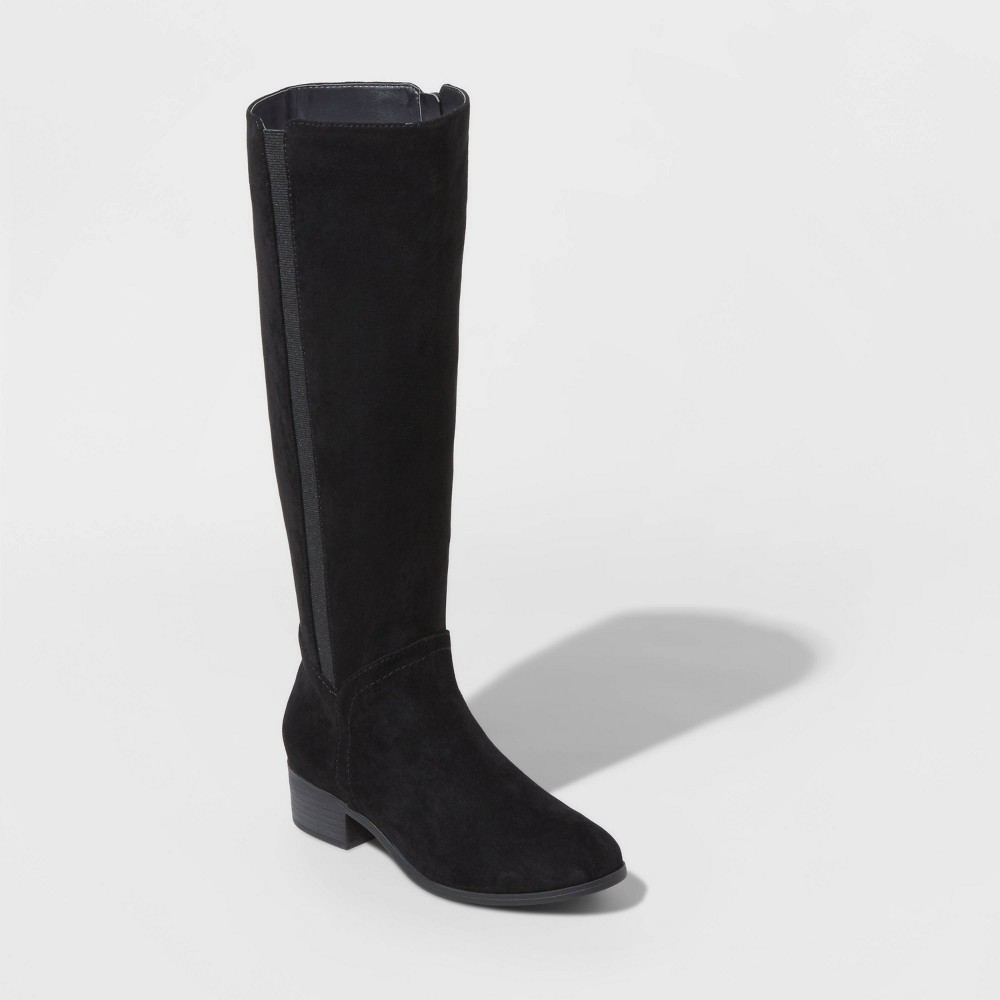 Image of Women's Brielle Microsuede Riding Boots - Universal Thread Black 5.5