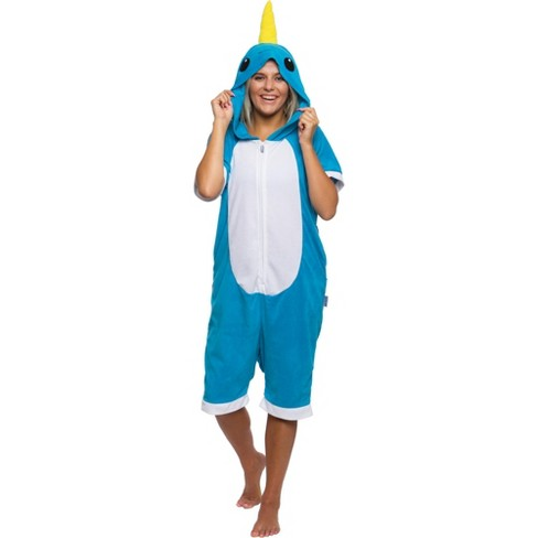 Funziez! Narwhal Women's Short Sleeve Novelty Romper - image 1 of 4