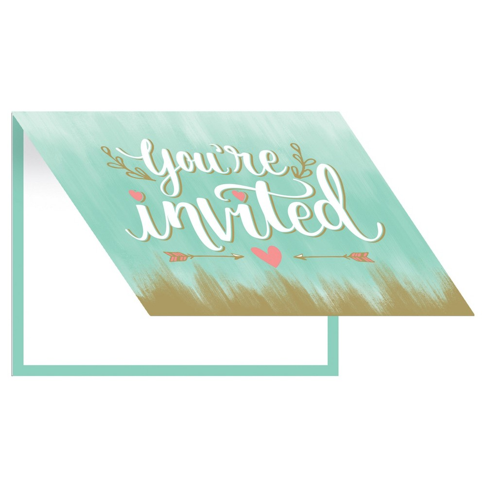 8ct Mint to Be Bridal Shower Invitations Add an elegant touch to your wedding invitations with the Mint To Be Invites. These special invitations feature a beautiful design that combines elegance with modern design. Sold in packs of 8, each invite comes with a matching envelope for your mailing convenience. Color: Multi-Colored. Pattern: Solid.