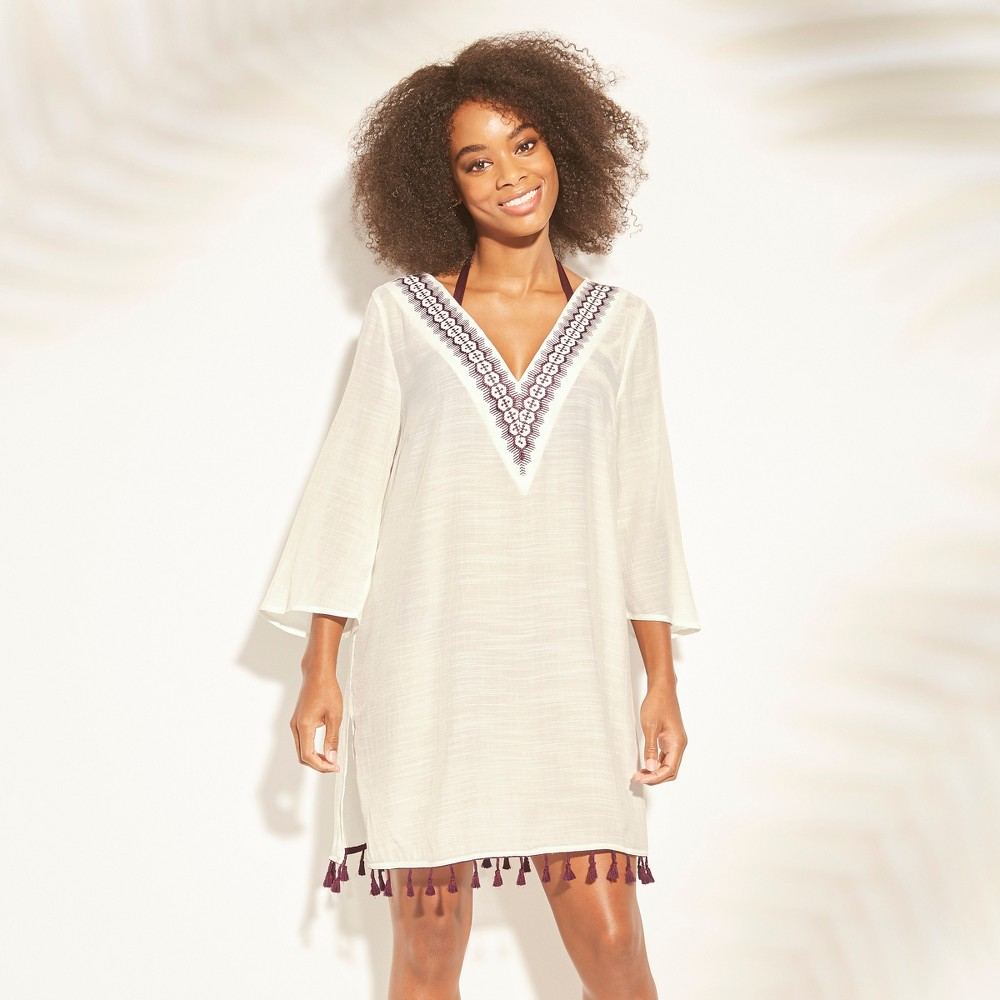 Women's Embroidered Tassel Trim Cover Up Dress - Kona Sol Cream (Ivory) L