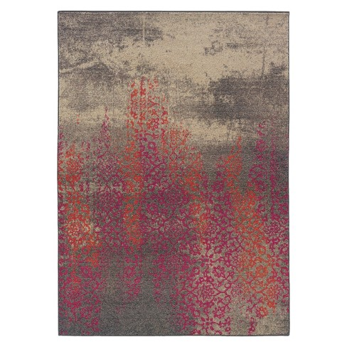 Climbing Floral Area Rug - Gray/Pink - image 1 of 3