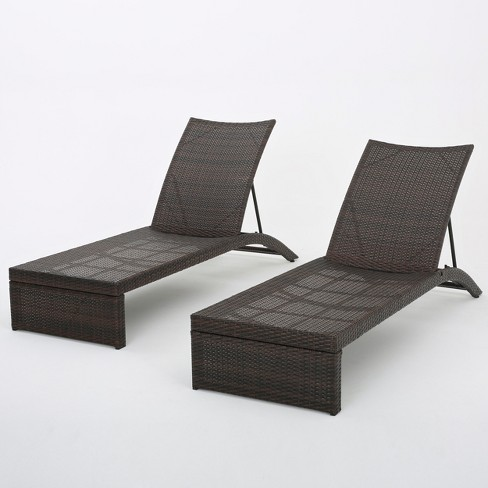 Lani Set of 2 Wicker Chaise Lounges - Brown - Christopher Knight Home - image 1 of 4