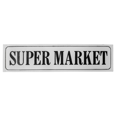 "Super Market Wall Décor White & Black (41""x10"") - VIP Home & Garden"