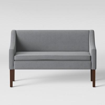 Nashua Settee Bench With Short Back Gray Fabric   Threshold™