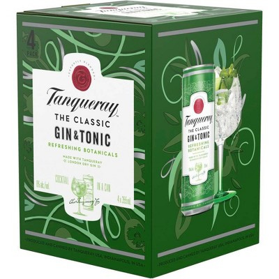 Tanqueray London Dry Gin & Tonic Cocktail - 4pk/355ml Cans
