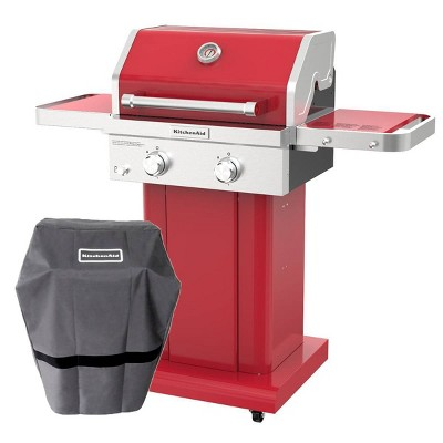 KitchenAid 720-0891CACO 2 Burner Stainless Steel Gas Grill with Grill Cover - Red